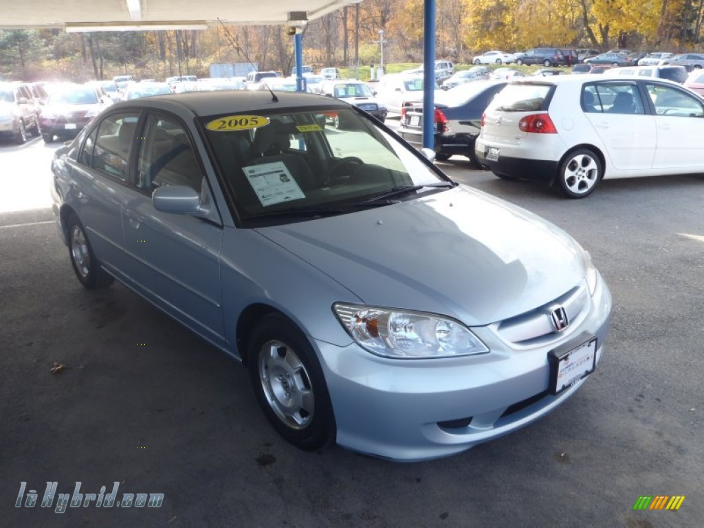 Eternal Blue Pearl / Gray Honda Civic Hybrid Sedan