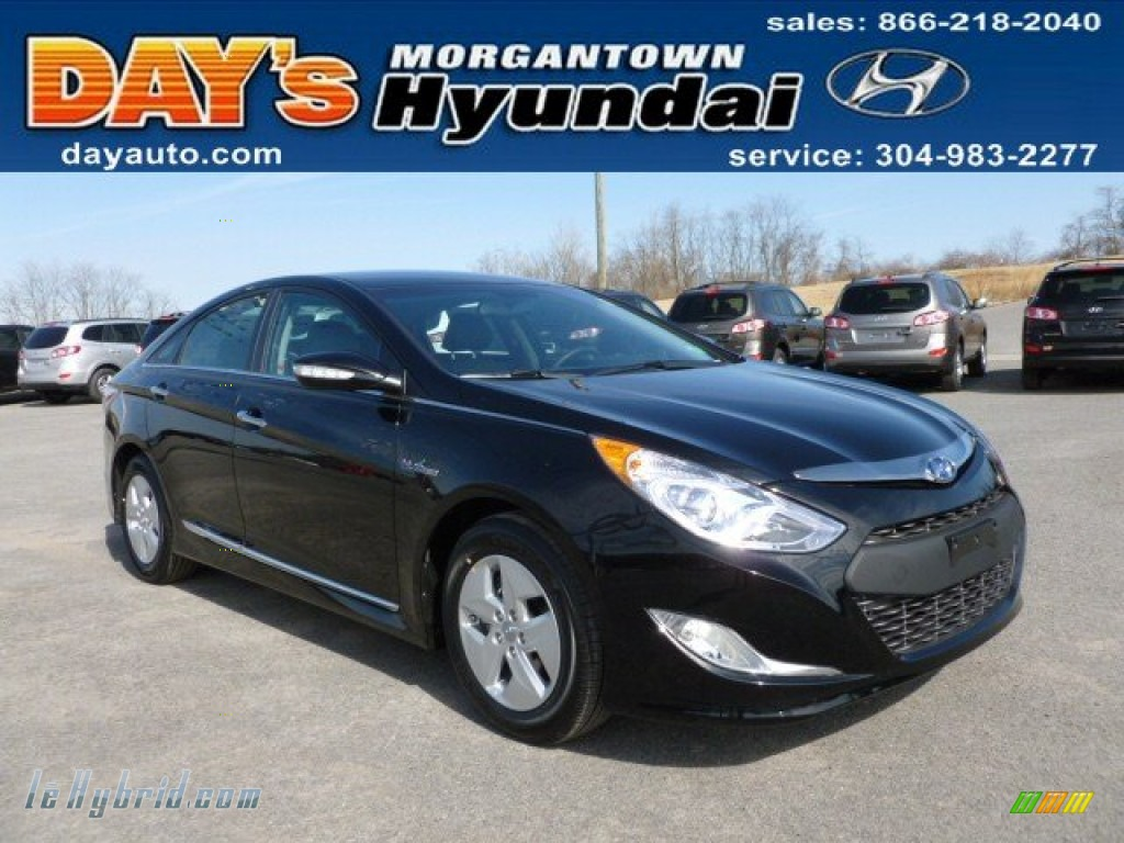 2012 Sonata Hybrid - Black Onyx Pearl / Gray photo #1
