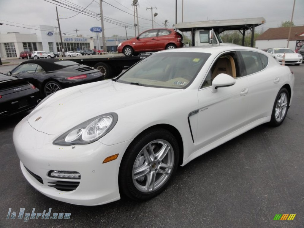 2012 Panamera S Hybrid - Carrara White / Luxor Beige photo #2