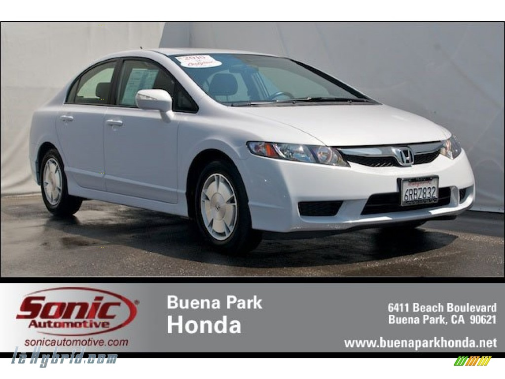 2010 Civic Hybrid Sedan - Spectrum White Pearl / Blue photo #1