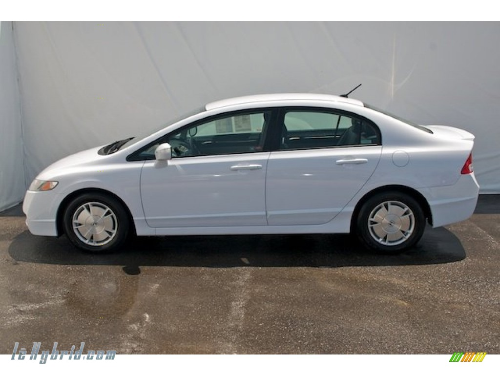 2010 Civic Hybrid Sedan - Spectrum White Pearl / Blue photo #8