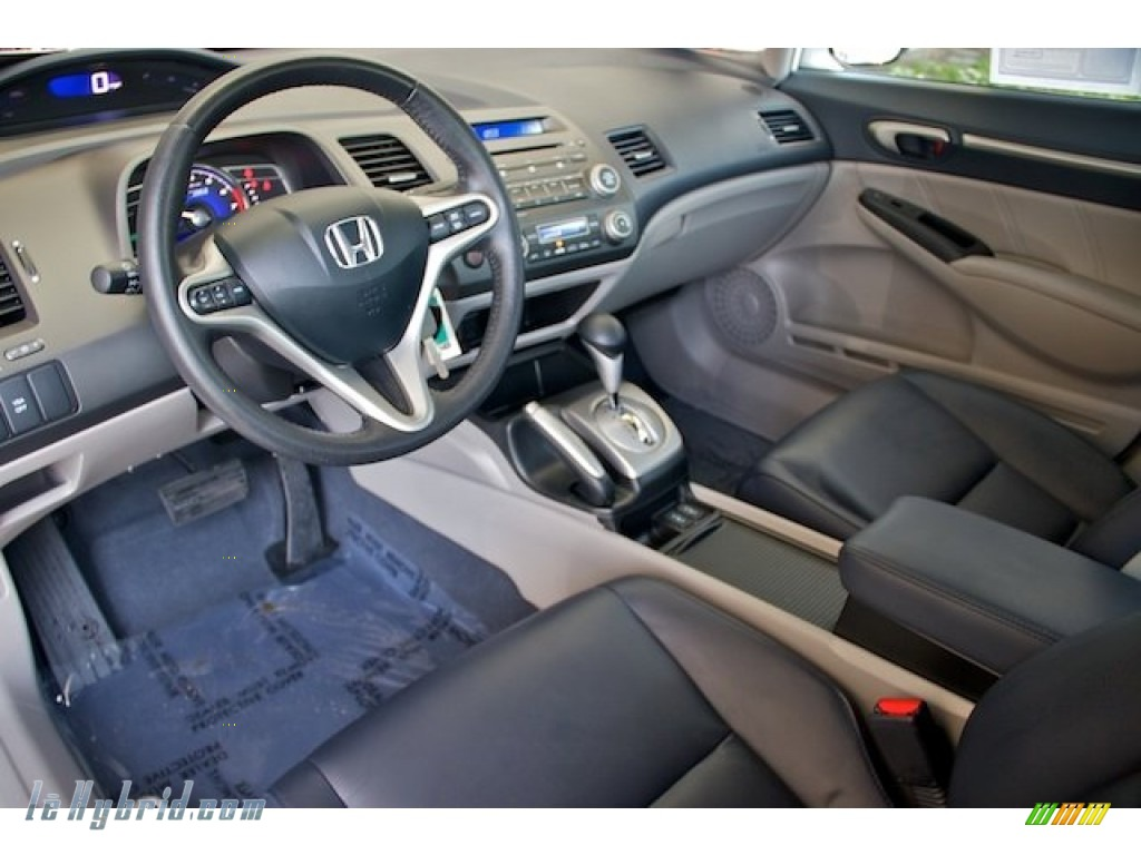 2010 Civic Hybrid Sedan - Spectrum White Pearl / Blue photo #13
