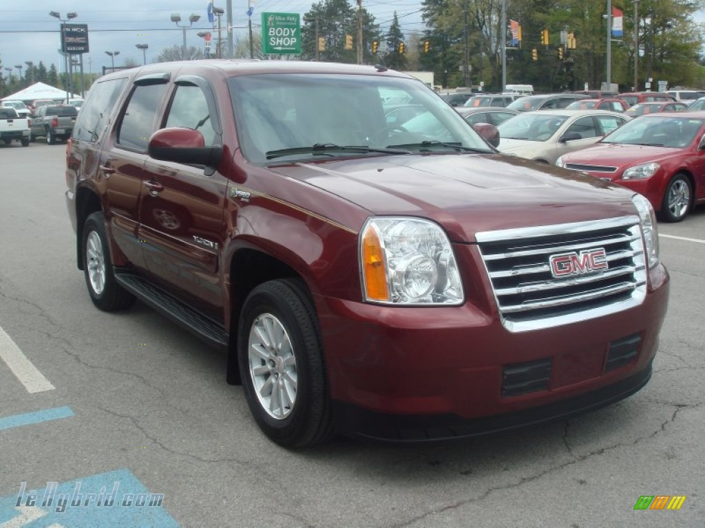 2008 Yukon Hybrid 4x4 - Sonoma Red Metallic / Cocoa/Light Cashmere photo #1