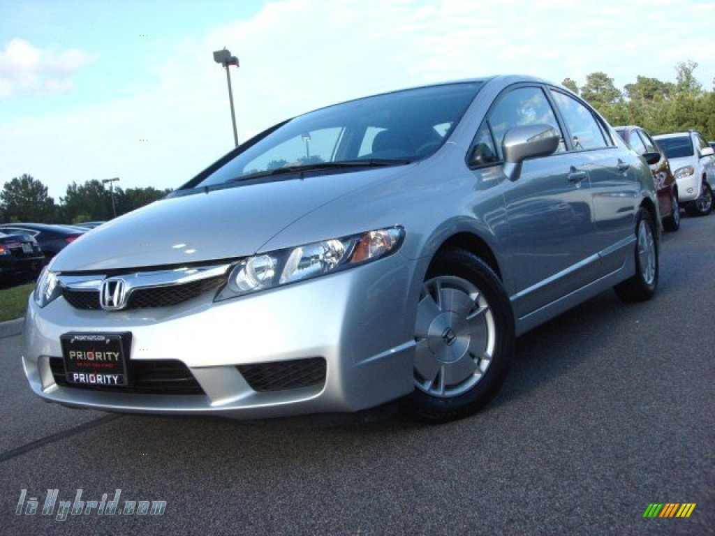 2009 Civic Hybrid Sedan - Alabaster Silver Metallic / Blue photo #1