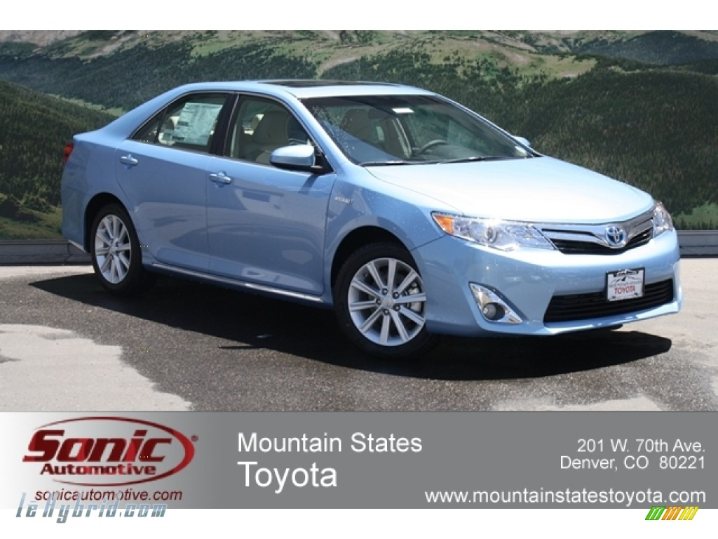 2012 Camry Hybrid XLE - Clearwater Blue Metallic / Ivory photo #1