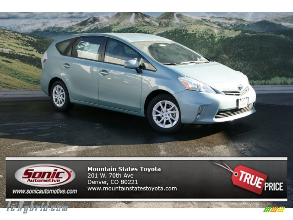 Sea Glass Pearl / Dark Gray Toyota Prius v Two Hybrid