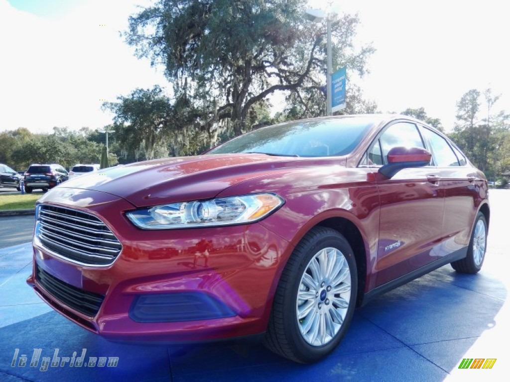 2014 Fusion Hybrid S - Ruby Red / Earth Gray photo #1