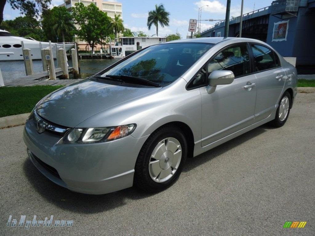 2006 Civic Hybrid Sedan - Alabaster Silver Metallic / Blue photo #1