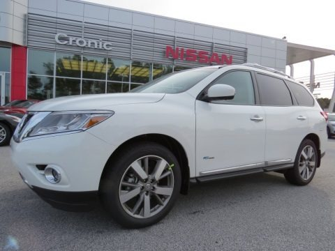 Moonlight White 2014 Nissan Pathfinder Hybrid Platinum