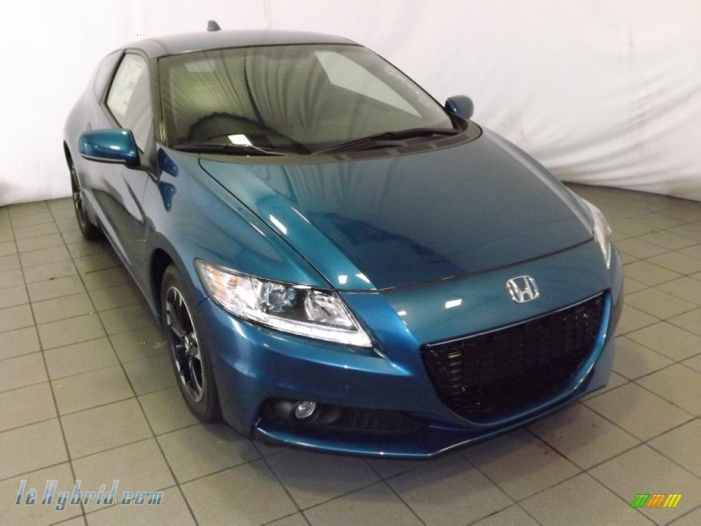 2014 CR-Z EX Hybrid - North Shore Blue Pearl / Black/Red photo #1