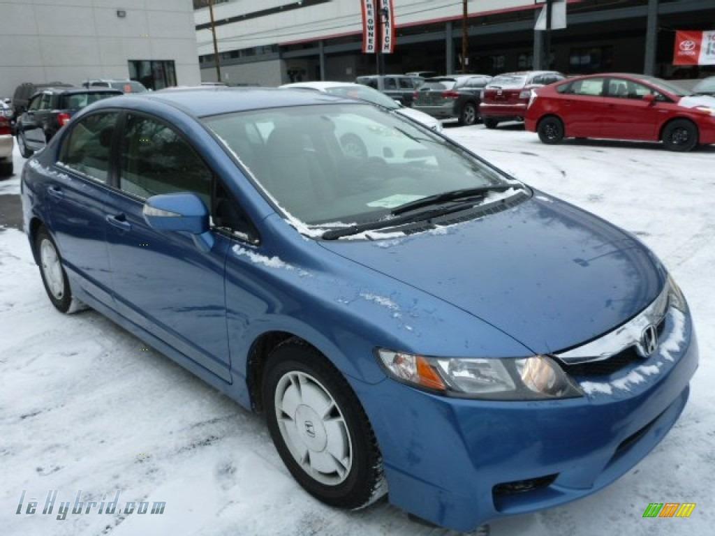 2009 Civic Hybrid Sedan - Atomic Blue Metallic / Beige photo #1